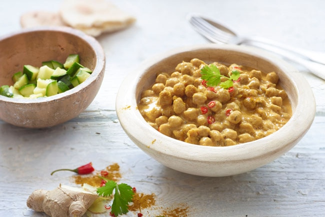 Curry de garbanzos con coco